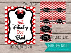 HOT DIGGITY DOG Buffet bar Customzied Mickey and Minnie Mouse Download Printable Birthday Party Red Black Decorations 8.5x11 Diy polka dot hotdog food labels drink labels