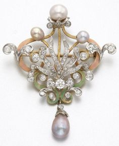 GOLD, PLATINUM, ENAMEL, DIAMOND AND NATURAL FRESHWATER PEARL BROOCH, CIRCA 1900.