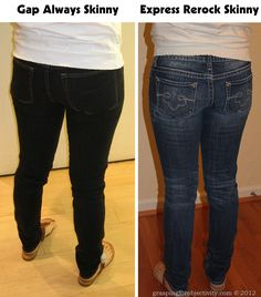 www.graspingforobjectivity.com - Blog comparing different jeans and the mom-ness of them.  she is too funny!  Same girl, same day, different jeans.  Moral of the story:  Gap jeans have HUGE back pockets and are a gateway mom jean.
