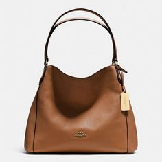 Coach Edie Shoulder Bag 31 ($325) ❤ liked on Polyvore featuring bags, handbags, shoulder bags, brown, coach purses, brown purse, slouchy shoulder bag, coach shoulder bag and brown leather purse