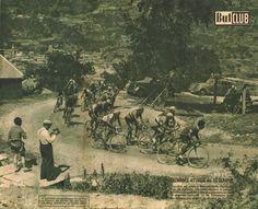 Tour de France 1947. 8^Tappa, 3 luglio. Grenoble - Briançon. Col du Télégraphe. Apo Lazarides (1925-1998) mena in testa al gruppo [But et CLUB] (www.cyclingpassions.eu)