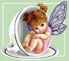 Teacup Fairy by CrossStitchRinna on Etsy, $5.00