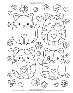 Notebook Doodles Adorable Pets: Coloring & Activity Book (Design Originals) 32 Dazzling Designs from Dogs & Cats to Hedgehogs & Hermit Crabs; Art Activities for Tweens with Color Palettes & Examples Easy Coloring Pages, Cat Coloring Page, Animal Coloring Pages, Coloring Pages For Kids, Coloring Sheets, Coloring Books, Notebook Doodles, Color Activities, Digi Stamps