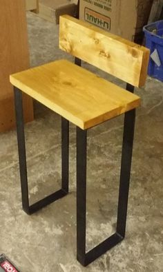 Bar Stool    Industrial Wood Chair    Steel Flat Bar Legs Steel Furniture, Wooden Furniture, Furniture Design, Bar Chairs, Table And Chairs, Bar Stools, Wood Stone, Kitchen Stools, Welding Projects