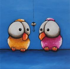 Original acrylic canvas painting whimsical pink & yellow bird spider oops #Modernism