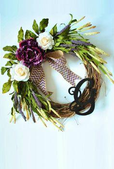 Purple Peony & Roses Monogram Grapevine Wreath by WreathDreams, $50.00
