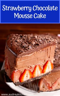 Get ready for the most decadent cake of your life. Fresh strawberries and chocolate mousse make an appealing treat. Chocolate Mousse Cake, Decadent Cakes, Chocolate Strawberries, Strawberry Recipes, Cake Recipes, Sweet Treats, Bakery, Cooking Recipes, Sweets