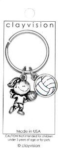 """Clayvision Volleyball Girl with Color Ball Pendant Key Chain Clayvision. $9.95. Not recommended for children under 3 years of age or for pets.. Pewter charm is nickel plated and manufactured in the United States.. Clayvision original design.. The charm measures 1/2 inch tall and the pendant measures about 1"""" tall.. The charms come on a round 28mm key chain."""