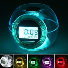 $11.69 - 7-color Changing Lights Nature Sounds LED Digital Alarm Snooze Clock with Thermometer and Timer