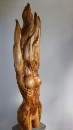 """"""" FIERY WOMAN """" by Jan Van Braekel wood sculpture"""