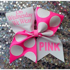Cheer bow. On Wednesday pink ($12) ❤ liked on Polyvore featuring accessories, hair accessories, pink hair accessories and hair bow accessories