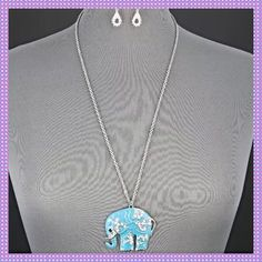 """✂️PRICE CUT✂️Turquoise Elephant & Earrings Silver Alloy Turquoise Elephant with Encrusted Rhinestones Pendant Necklace with Earrings. Fashionable & Elegant Silver Chain Necklace. Bohemian Style Look, Great New Statement Necklace, Lobster Claw Closure. Measures Approx. 27"""" Long with a 3"""" Extender. Boutique Jewelry Earrings"""