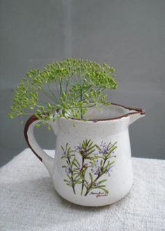 Ceramic pitcher  jug small botanical picture by vintagefullhouse, $22.00