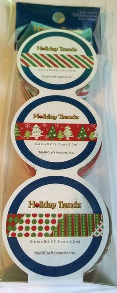 NEW Forever in Time CHRISTMAS WASHI TAPE - A) TREES STRIPES 3 ROLLS LOT