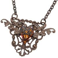 Necklace  with Vintaj filigree and Swarovski  heart crystal