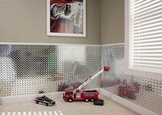 Diamond plate wall panel. This would be so cute in my sons room, so universal for a teen or smaller kids.. Also keeps writing of the walls