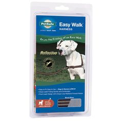 Easy Walk Reflective Harness & Leash - Black - 19 - 25 in.  | Safely and comfortably take your dog for a walk in even the darkest nighttime or early morning conditions with these reflective harness and leash sets. Reflective nylon strips on both the harness and leash make your dog visible up to 1000 feet. Gentle Leader harness design is extra comfortable and safe for Man's Best Friend. @PetSafe