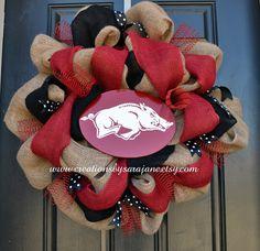 Burlap Razorback Wreath - University of Arkansas Wreath