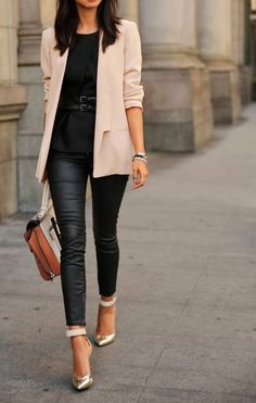 Classic neutral business casual with a touch of edgy with the leather!