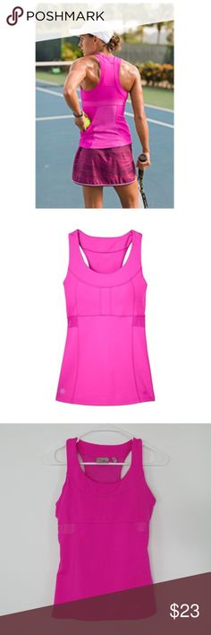 "ATHLETA PR Tank Top ATHLETA Top Racer Back PR Tank Top Shelf Bra with Pockets for Tennis Pink Size S  Pink + Pockets = Perfect! Designed for Tennis players.  Also, great for running or biking.  In excellent condition!!!  (Measurements laying flat) Chest: 15"" Length: 22""  Please message me with any questions.  Check out my other items! Athleta Tops Tank Tops"