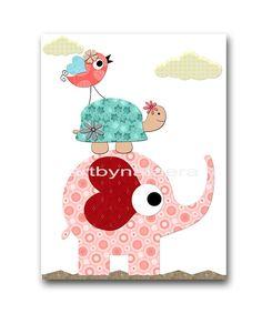 Kids Wall Art Elephant Nursery Baby Girl Nursery by artbynataera