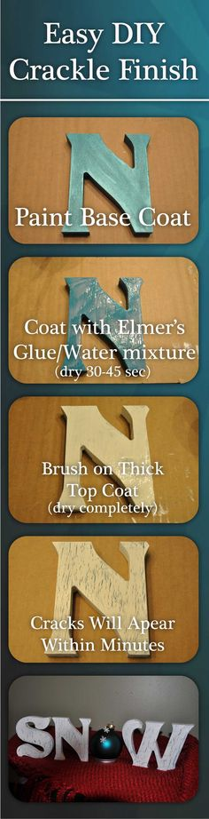 DIY: How To Get A Crackle Paint Finish - tutorial uses Elmer's Glue instead of those pricy crackle mediums.