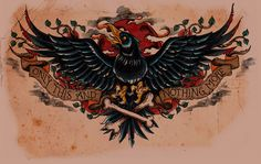 """This is a tattoo design that I did for an Edgar Allan Poe, """"The Raven"""" chest piece. I really had a lot of fun with this design so I thought I'd post some of the steps that I went through in designi. Chest Piece Tattoos, Chest Tattoo, Body Art Tattoos, Tattoo Drawings, Raven Tattoo Meaning, Tattoos With Meaning, Girls With Sleeve Tattoos, Tattoos For Guys, Corvo Tattoo"""