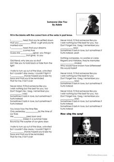 Simple Past Tense Song Someone Like You- Adele worksheet - Free ESL printable worksheets made by teachers
