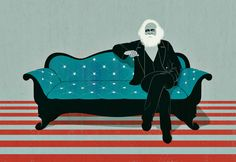 Joey Guidone - Karl Marx and the American elections. Americana, American flag, Stripes and Stars, Interview, Sofa, Portrait, Poster, Conceptual, Digital Art