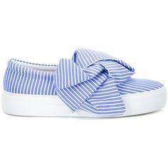 Joshua Sanders Bow Slip-on Sneakers ($328) ❤ liked on Polyvore featuring shoes, sneakers, blue and white sneakers, cotton shoes, slip-on sneakers, slip-on shoes and pull on shoes