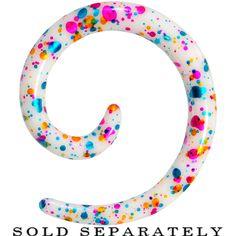 6 Gauge Acrylic Rainbow Bubblegum Spatter Spiral Taper   Body Candy Body Jewelry