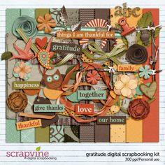 Gratitude Thanksgiving Digital Scrapbooking Kit | ScrapVine