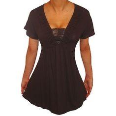 c9ba55de43 Funfash Plus Size Black Lace Empire Waist Slimming Womens Top Shirt