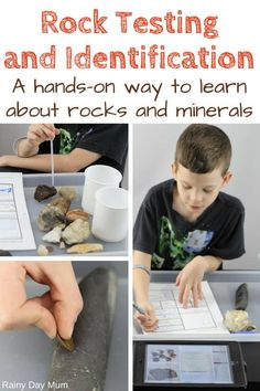 Full instructions on rock testing with kids including how to put together your own rock testing kit and a step-by-step g Earth Science Activities, Rock Science, Earth And Space Science, Science Fair, Science Lessons, Lessons For Kids, Science For Kids, Science Projects, Ecosystems Projects