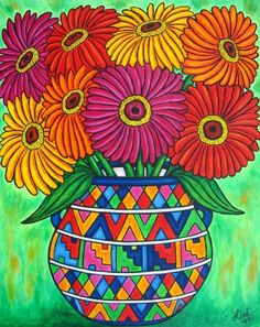 Zinnia Fiesta Poster by Lisa Lorenz. All posters are professionally printed, packaged, and shipped within 3 - 4 business days. Choose from multiple sizes and hundreds of frame and mat options. Arte Floral, Naive Art, Mexican Folk Art, Whimsical Art, Art Plastique, Art Lessons, Flower Art, Fine Art America, Art For Kids