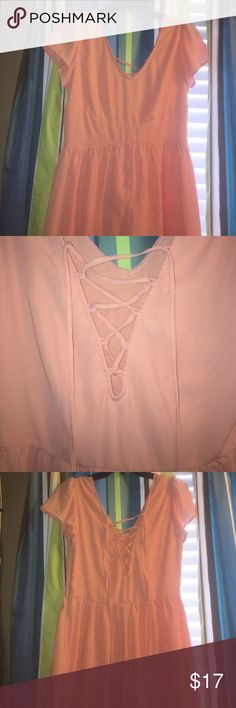 Pink romper Never worn out pink pacsun romper with cute lace tie back and flowy flare waist. PacSun Dresses Mini