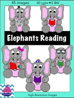 This is a clip art set of 45 fun reading elephants! The set includes a variety of combinations of reading material and accessories.This includes elephants reading:-books-magazine-newspaperThe elephants also come with a variety of accessories:-top hat-bow-glasses- propellor hat These images are high resolution, they can be enlarged without distorting the clarity.The files are in png format.