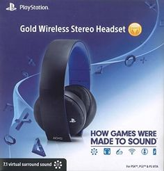 Take your gaming experience up a notch with the PlayStation Gold Wireless Stereo Headset. Designed for the PlayStation but also compatible with the PlayStation 3 or PC. Folding design makes the headset ultra-portable. Playstation Gold, Newest Playstation, Wireless Headset, Gaming Headset, Surround Sound Headphones, Best Surround Sound, Playstation 4 Accessories, Best Pc