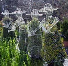 Topiary gardening frames - golfer, bunny, dolphin among favorites