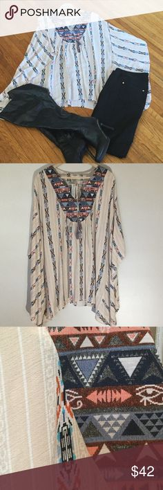 Kaftan print tunic Light and flowy. Cotton and polyester blend. Length is above the knee. Umgee Sweaters Shrugs & Ponchos