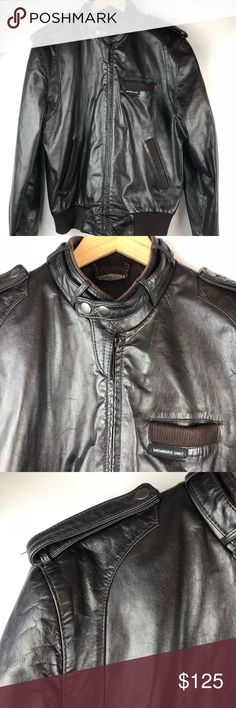 Members Only Cafe Racer Leather Motorcycle Jacket Vtg Members Only Cafe Racer Motorcycle Biker Jacket Brown Leather Size Medium - 40 Check measurements - vintage sizes may vary Grayscale Rainbow Logo Patch Absolutely amazing condition - no stains, tears, holes or fading Metal Zipper Closure Double Snap throat latch collar Snap Down Should Epalets Fabric waistband and cuffs Acetate lining Approximate measurements (inches): Chest (measured flat across front): 22.5 Sleeves: 25.5 Length: 26…