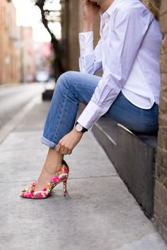 floralpumps with white button down shirt & blue jeans
