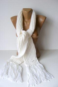 white scarfknit scarfwomen knitting scarfsoft scarfwarmnew by seno, $30.00