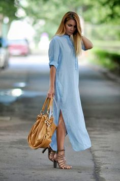 Zara Blue Maxi Shirt Dress and Brown Handbag with Strappy Brown Sandals - Street Style Mode Outfits, Dress Outfits, Fashion Dresses, Fashion Shirts, Maxi Dresses, Blue Dresses, Modern Fashion, Look Fashion, Womens Fashion