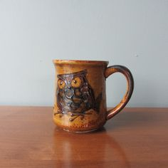 Vintage Ceramic Coffee Mug with Brown Angry Owl 1960s. $14.00, via Etsy.
