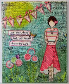 Love the saying, the colors ... given the sentiment, the character looks a bit restrained though (also love the folded skirt)