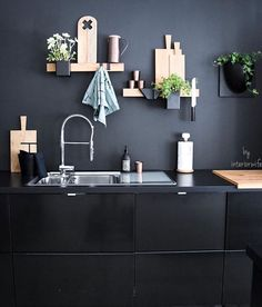 Inspired by the Nordic lifestyle, Gejst creates modern design and interior products of high quality, such as the Molekyl candleholder & the Flex system. Blackboard Wall, Decor, Kitchen Design, Black Kitchens, Kitchen Decor, Interior, Black Walls, Kitchen Interior, Home Decor