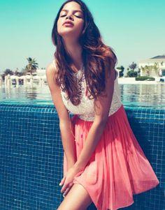 Lipsy Lace Top Mesh Skater Dress