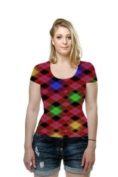#Gingham #Checkered #Multicolored #Ladies #Shirt #SandyMerten #AllOverPrinted #Art #Fashion #TShirt #OArtTee #womenswear