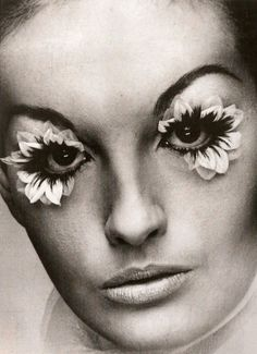THIS IS FREAKY - it says it's from the 60's... and who else would do something like this other than 60's freaky people or Madonna.... right? - 1960s false lashes made with real flower petals.
